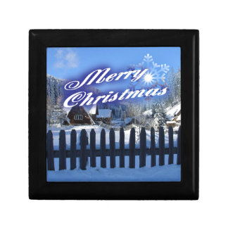 Merry Christmas - Beautiful Log Cabin in the Snow Gift Box