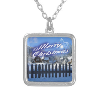 Merry Christmas - Beautiful Log Cabin in the Snow Silver Plated Necklace