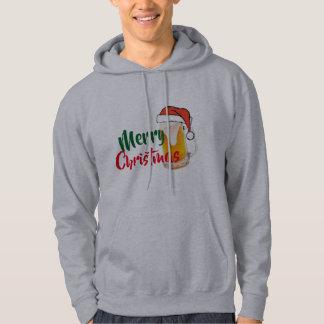 merry christmas beer santa hat mens hoodie