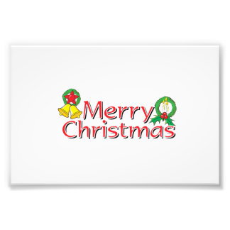 Merry Christmas Bell Lantern Wreath Candle Cards Photo