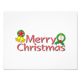 Merry Christmas Bell Lantern Wreath Candle Cards Photo Print