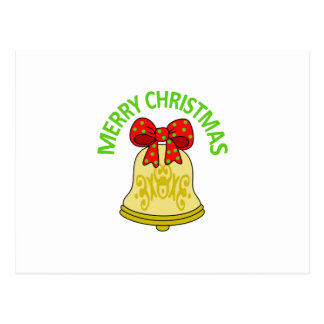 MERRY CHRISTMAS BELL POSTCARD