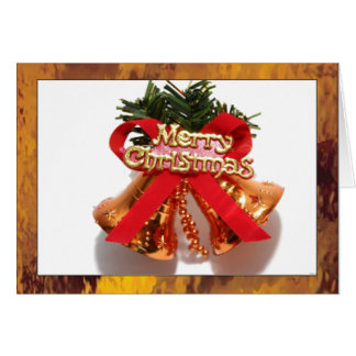 Merry Christmas Bell with Gold Stained Glass Borde Greeting Card