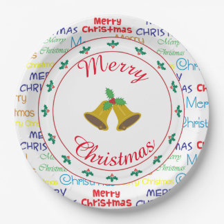 Merry Christmas Bells and Holly Paper Plate