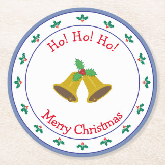 Merry Christmas Bells and Holly Round Paper Coaster