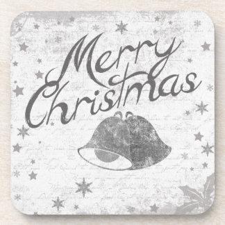 Merry Christmas Bells Chalkboard Art Drink Coasters
