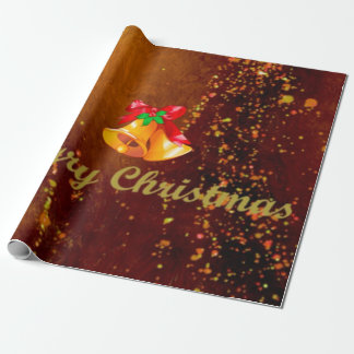 merry christmas, bells, golden brown wrapping paper