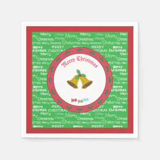 Merry Christmas Bells & Holly Paper Napkin
