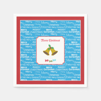 Merry Christmas Bells & Holly Paper Napkins