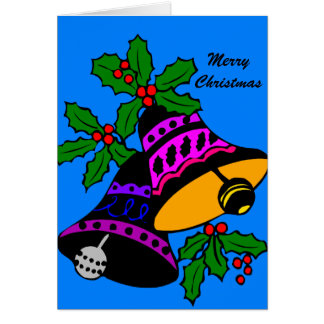 Merry Christmas Bells with Holly on Blue Greeting Card