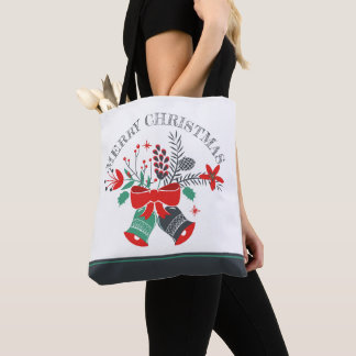 Merry Christmas Bells Wreath Tote Bag