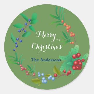 Merry Christmas Berry Wreath Classic Round Sticker