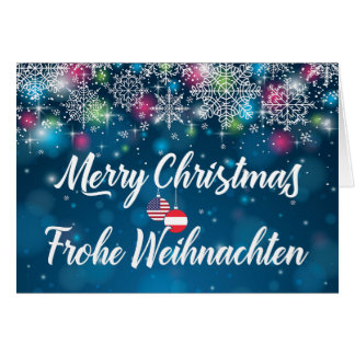 Merry Christmas Bilingual Austrian American Card