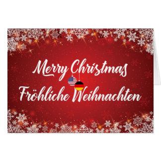 Merry Christmas Bilingual German American Card