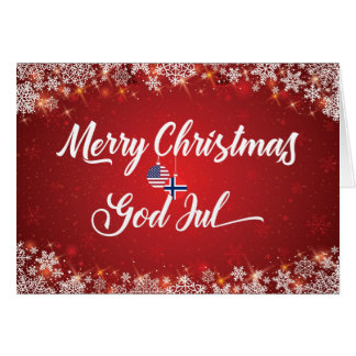 Merry Christmas Bilingual Norwegian American Card