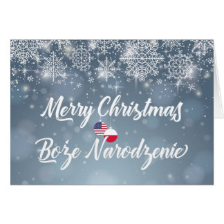 Merry Christmas Bilingual Polish American Card