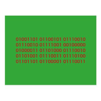 merry christmas binary code postcard