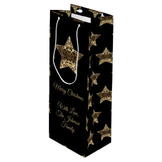 Merry Christmas Black and Gold Look Stars Pattern Wine Gift Bag