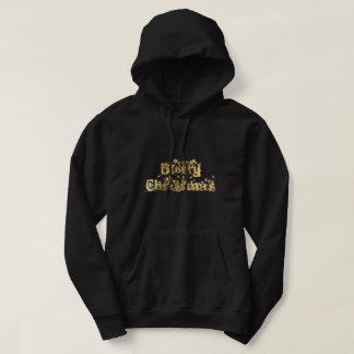 Merry Christmas Black and Gold Stars Typography Hoodie