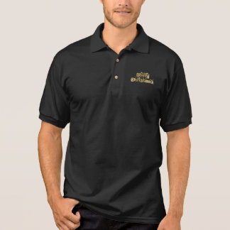 Merry Christmas Black and Gold Stars Typography Polo Shirt