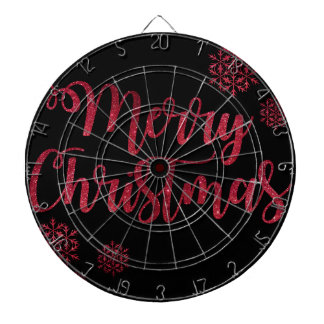 Merry Christmas Black and Red Snowflake Typography Dartboard
