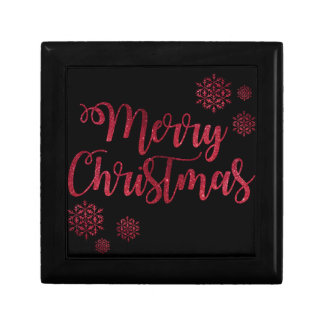 Merry Christmas Black and Red Snowflake Typography Gift Box