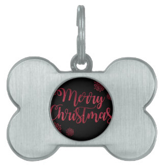 Merry Christmas Black and Red Snowflake Typography Pet Name Tags