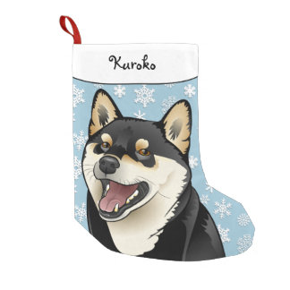 Merry Christmas Black and Tan Shiba Inu Stocking Small Christmas Stocking