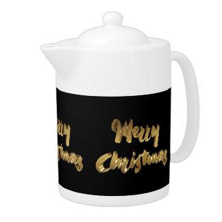Merry Christmas Black Gold Handwriting Typography