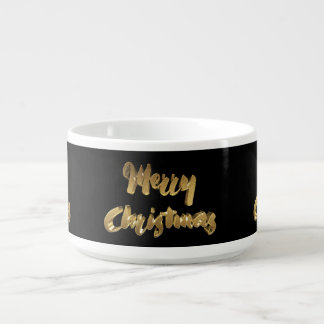 Merry Christmas Black Gold Handwriting Typography Bowl