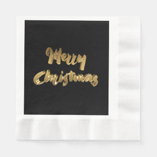 Merry Christmas Black Gold Handwriting Typography Disposable Napkins