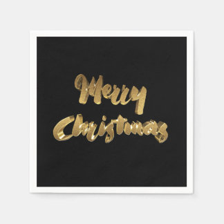 Merry Christmas Black Gold Handwriting Typography Paper Napkins