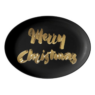 Merry Christmas Black Gold Handwriting Typography Porcelain Serving Platter