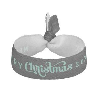 Merry Christmas Black Mint Text Design Hair Tie