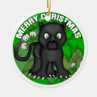 Merry Christmas Black Panther Ceramic Ornament