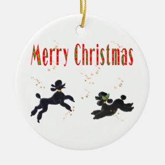 Merry Christmas Black Poodles n Stars Ornament