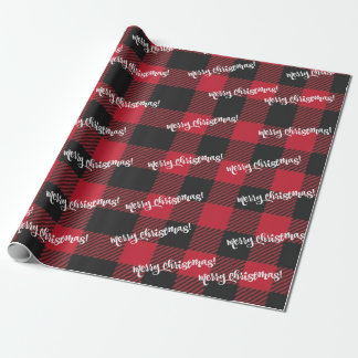 Merry Christmas Black & Red Buffalo Check Plaid Wrapping Paper