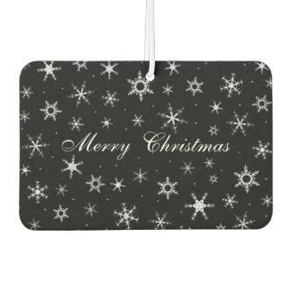 Merry Christmas Black Snowflakes Air Freshener