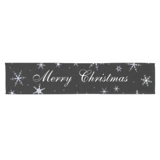 Merry Christmas Black Snowflakes Short Table Runner