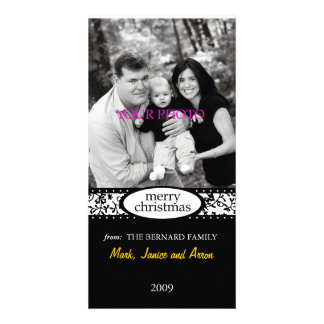 merry christmas black white ribbon card