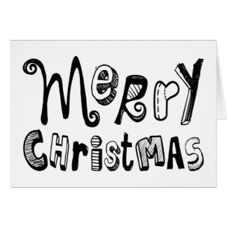 Merry Christmas Black White Typography Greeting Card