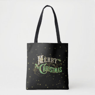 Merry Christmas Bling Retro Typography Tote Bag