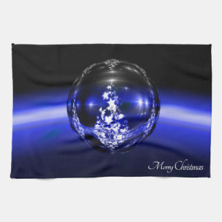 Merry christmas blue ball hand towels