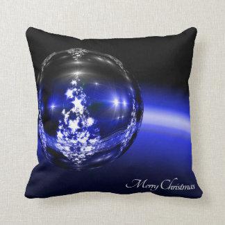 Merry christmas blue ball throw pillows