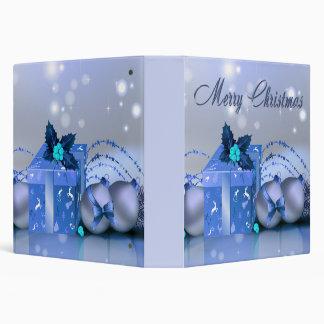 Merry Christmas Blue Baubles Binders