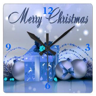 Merry Christmas Blue Baubles Wall Clocks