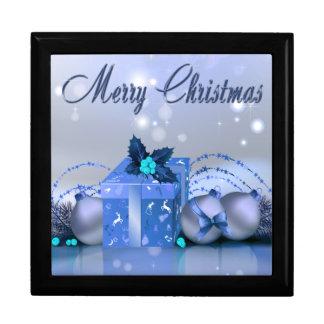 Merry Christmas Blue Baubles Keepsake Boxes