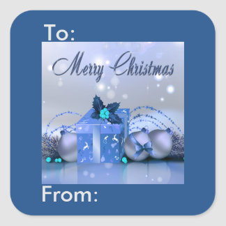 Merry Christmas Blue Baubles Gift Tag Square Stickers