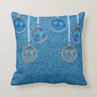 Merry Christmas Blue Baubles Glitter Gold Pillow