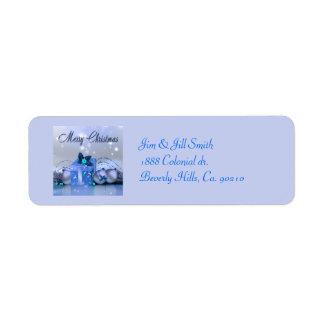 Merry Christmas Blue Baubles Return Address Label